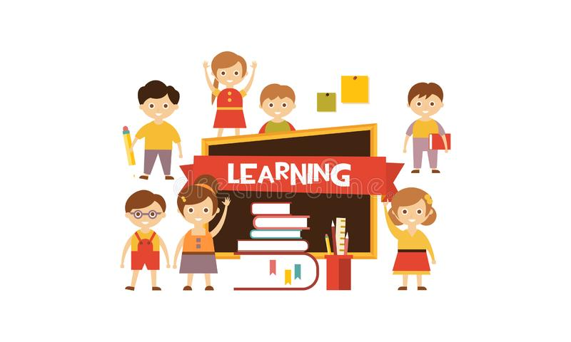 Group of cute little kids, blackboard and stack of books, learning concept vector Illustration vector illustration
