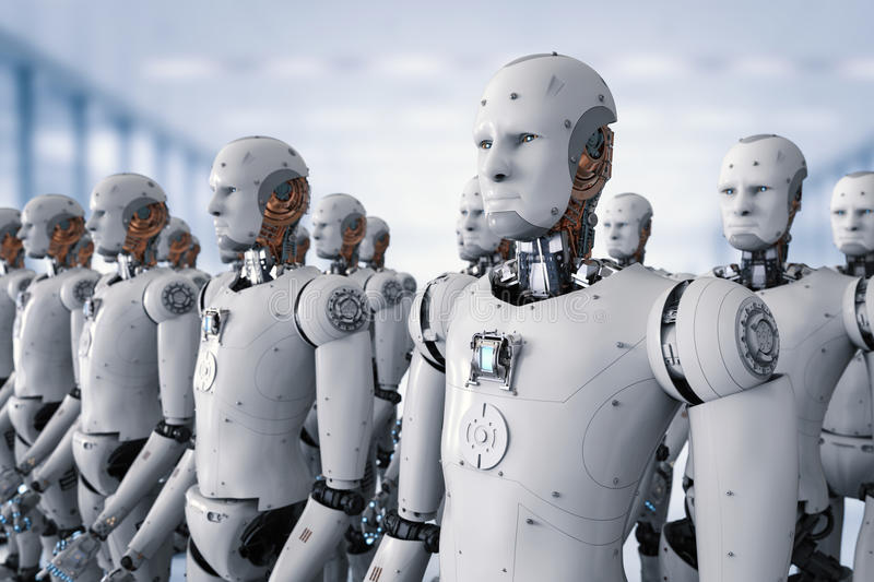 Group of cyborgs in factory vector illustration