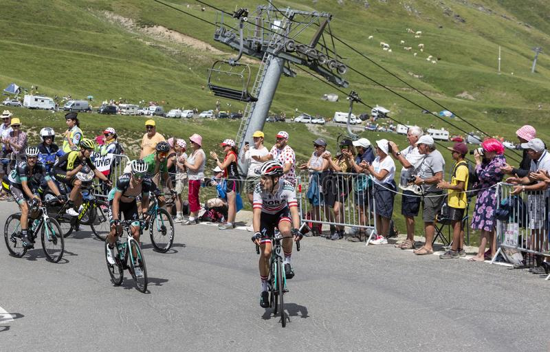 Group of Cyclists on Col du Tourmalet - Tour de France 2018. Col du Tourmalet,France-July 27,2018: Group of cyclists including Peter Sagan in Green Jersey stock photos
