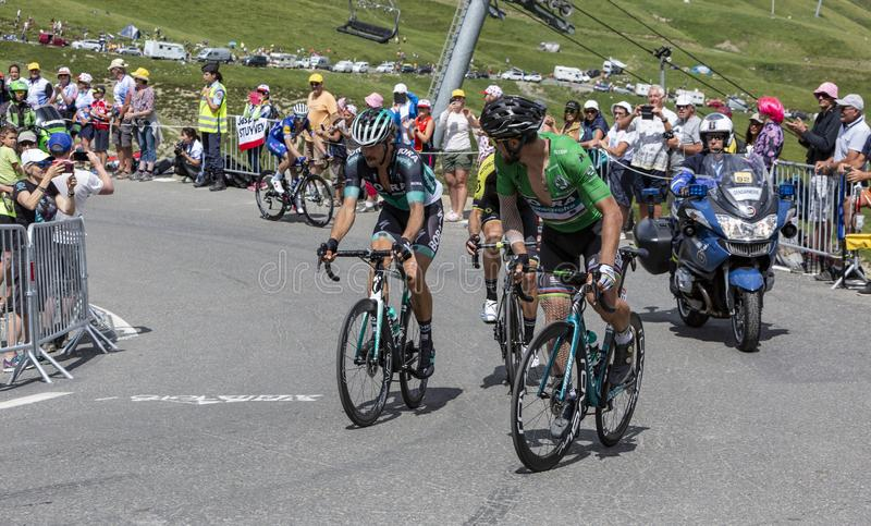 Group of Cyclists on Col du Tourmalet - Tour de France 2018. Col du Tourmalet,France-July 27,2018: Group of cyclists including Peter Sagan in Green Jersey royalty free stock images
