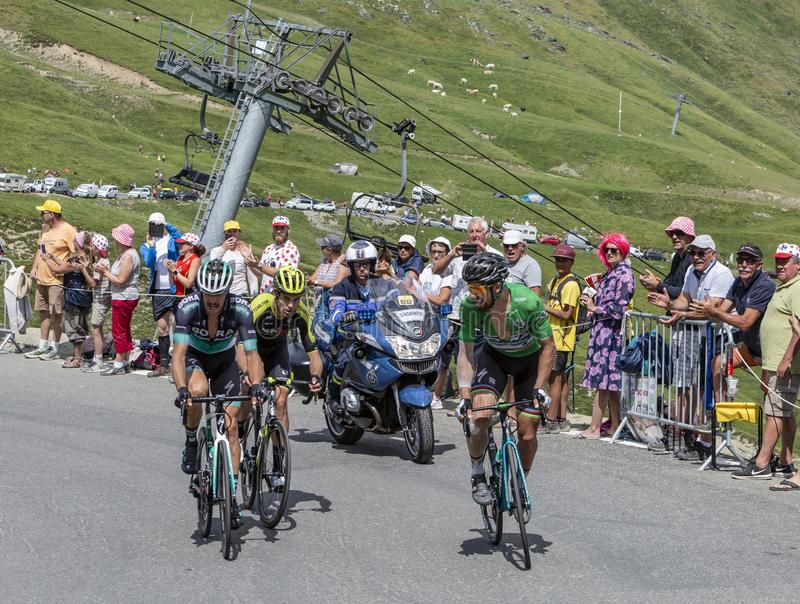 Group of Cyclists on Col du Tourmalet - Tour de France 2018. Col du Tourmalet,France-July 27,2018: Group of cyclists including Peter Sagan in Green Jersey stock image