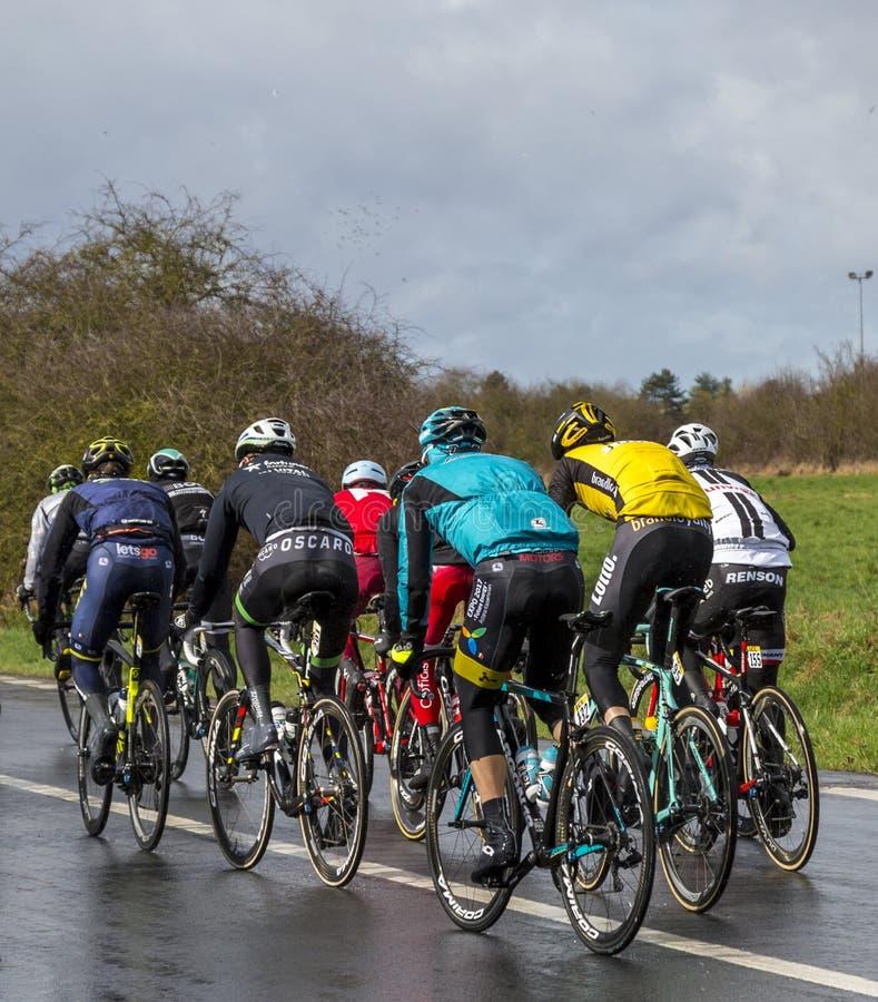 Group of Cyclists - Paris-Nice 2017 stock image