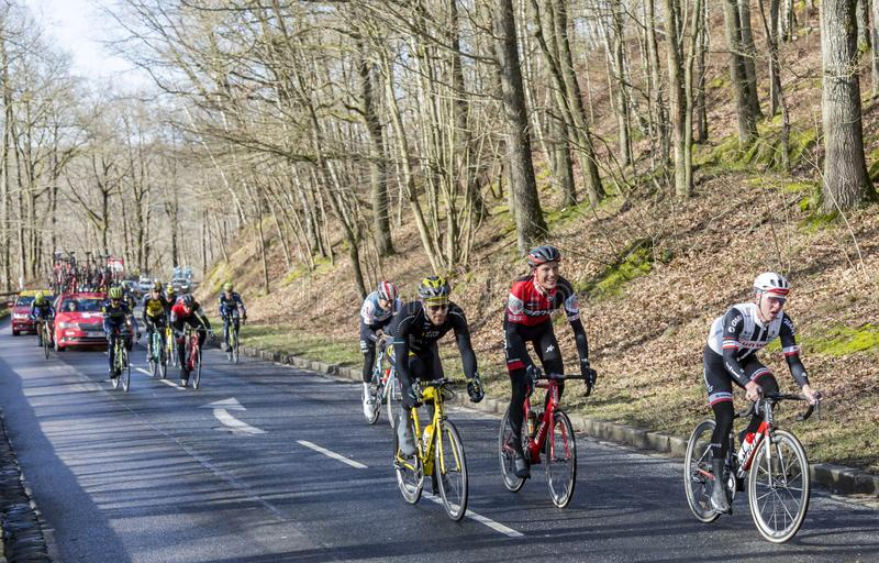 Group of Cyclists - Paris-Nice 2017 royalty free stock photo