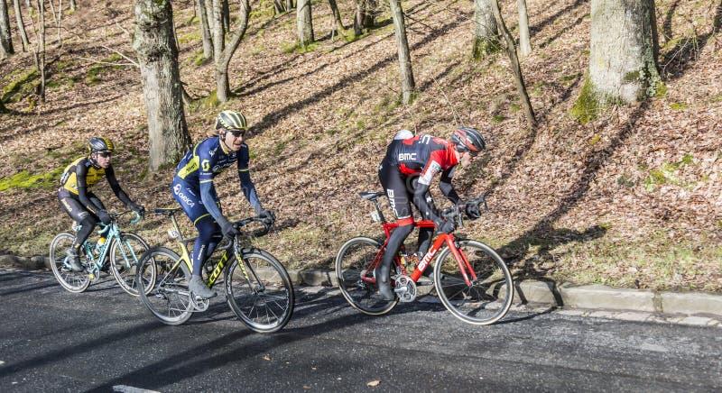 Group of Cyclists - Paris-Nice 2017 stock photo