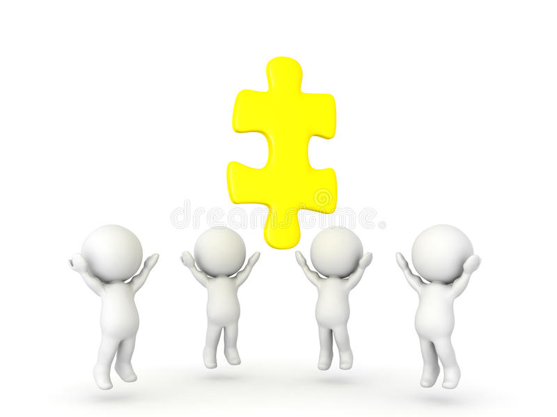 Group of 3D Characters looking up to golden jigsaw puzzle piece stock illustration