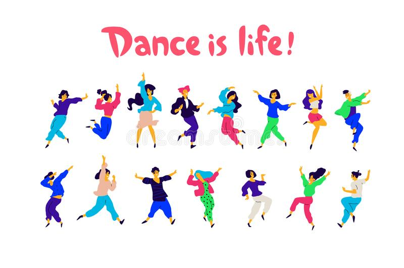 A group of dancing people in different poses and emotions. Vector. Illustrations of men and women. Flat style. A group of happy vector illustration