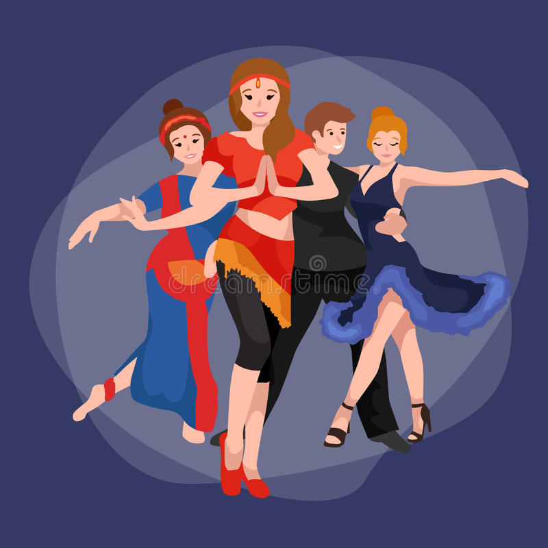 Group of dancing people, yong happy man and woman dance together and in a couple, girl sport dancer, happy boy, dance vector illustration