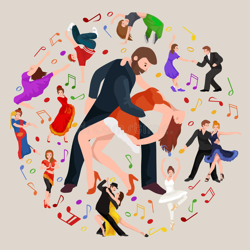 Group of dancing people, yong happy man and woman dance together and in a couple, girl sport dancer. Vector illustration of couple dancing modern dance, Partners royalty free illustration