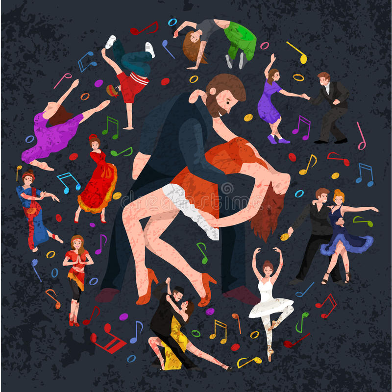 Group of dancing people, yong happy man and woman dance together in a couple, girl sport dancer. Vector illustration of couple dancing modern dance, Partners vector illustration