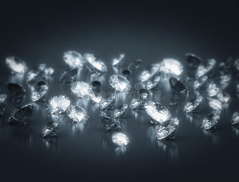 Group of diamonds stock image