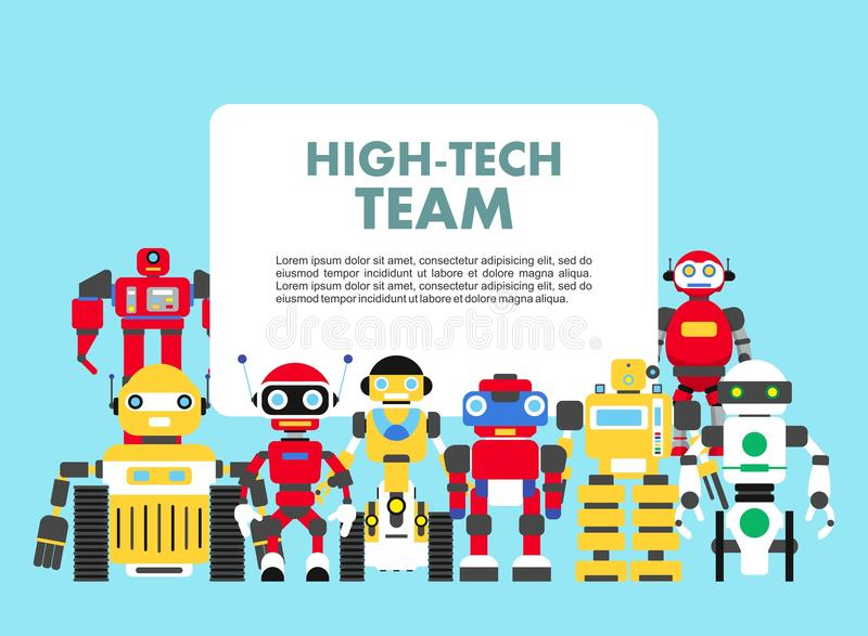 Group of different abstract robots standing together on blue background in flat style. High-tech team concept. Flat royalty free illustration