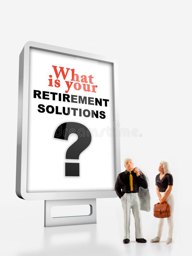 A group of different age people are standing in front of a billboard with a question message about retirement solutions royalty free stock photos