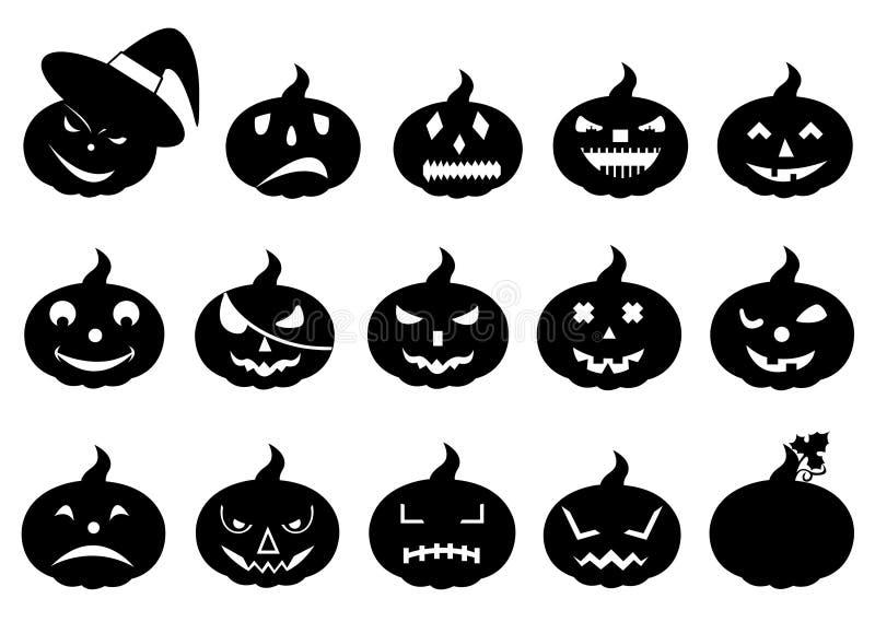 Group of different halloween pumpkins vector illustration