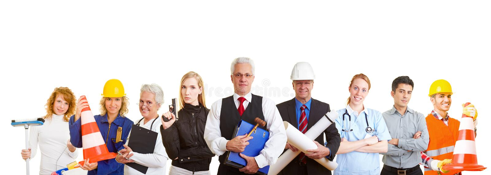 Group of different occupations. Group of nine happy business people with different occupations stock photo