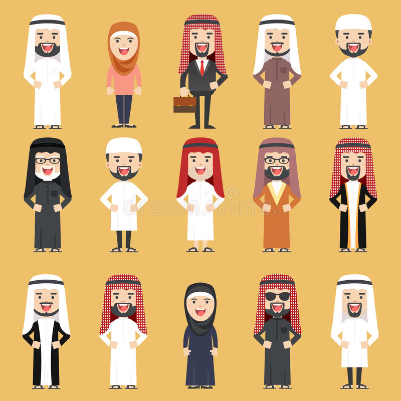 Group of Different People in Traditional Arab Clothes. vector illustration