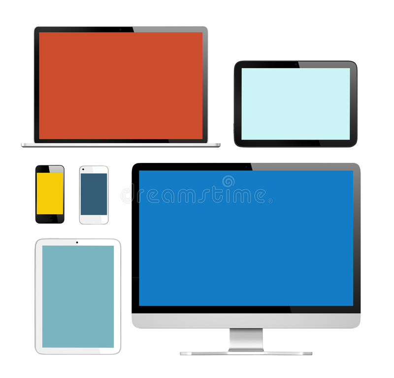 Group of Digital Devices with Colorful Screens vector illustration