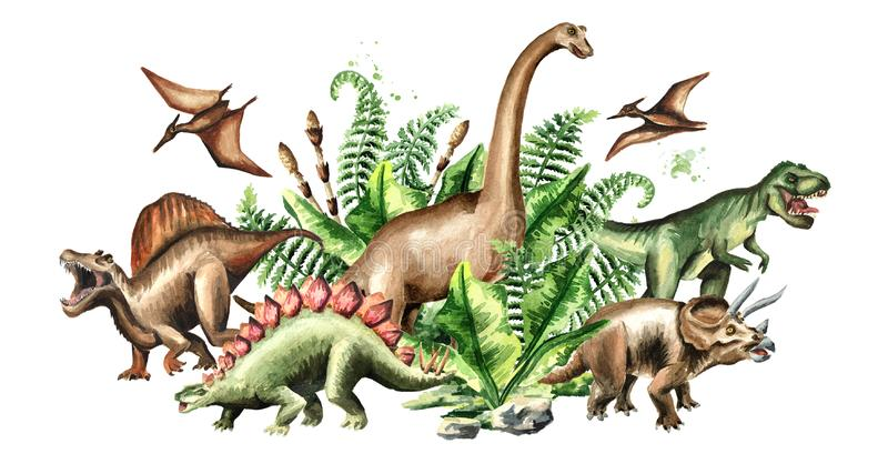 Group of dinosaurs with prehistoric plants. Watercolor hand drawn illustration isolated on white background. stock illustration