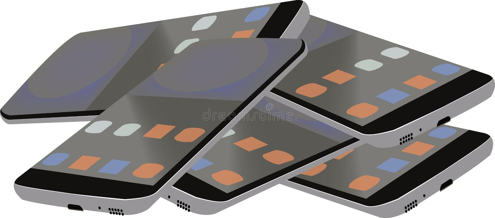 Group of discarded cell phones.  royalty free illustration