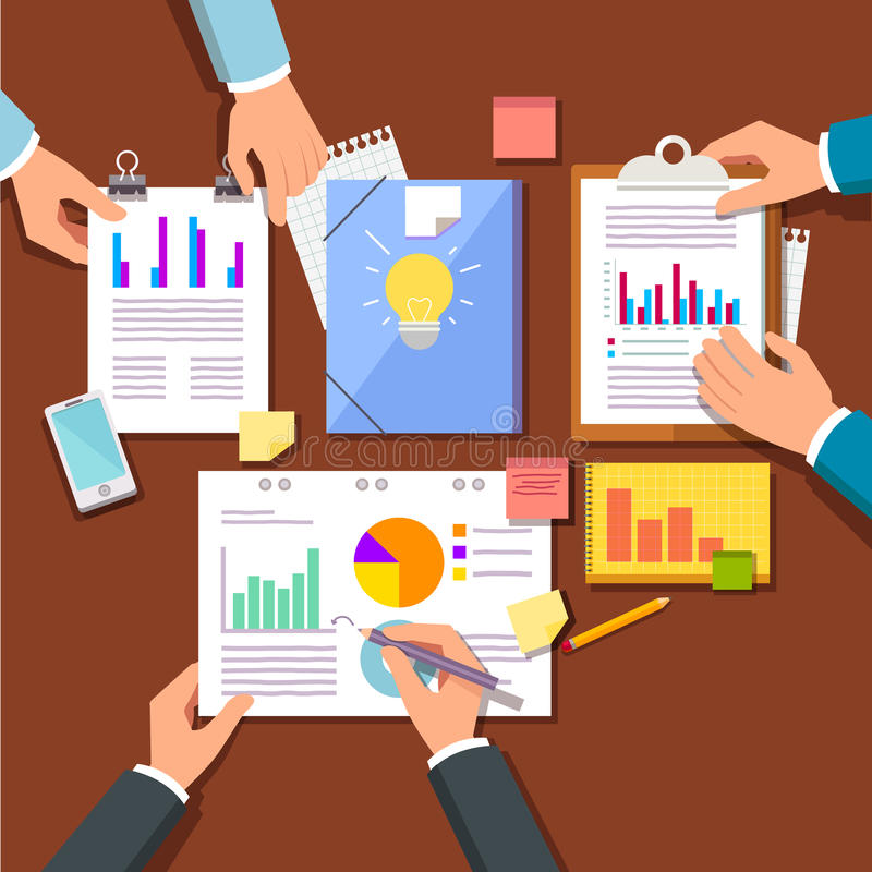 Group discussing new startup business plan. Marketing and sales ideas and research data. Hands working with statistical papers top view. Modern flat style vector illustration