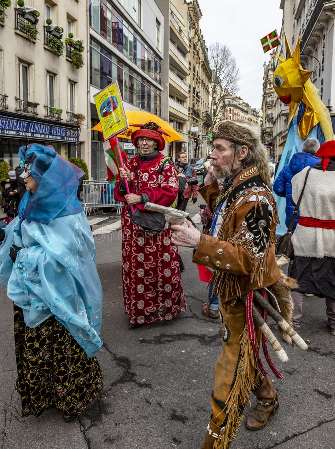 Group of Disguised People - Carnaval de Paris 2018 royalty free stock photography