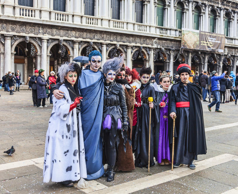 Group of Disguised People - Venice Carnival 2014 royalty free stock image