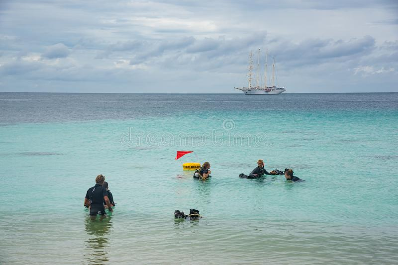 Group of divers training near the shore stock photography