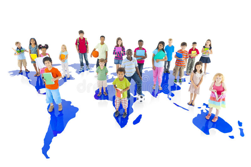 Group of Diverse Children with World Map stock image