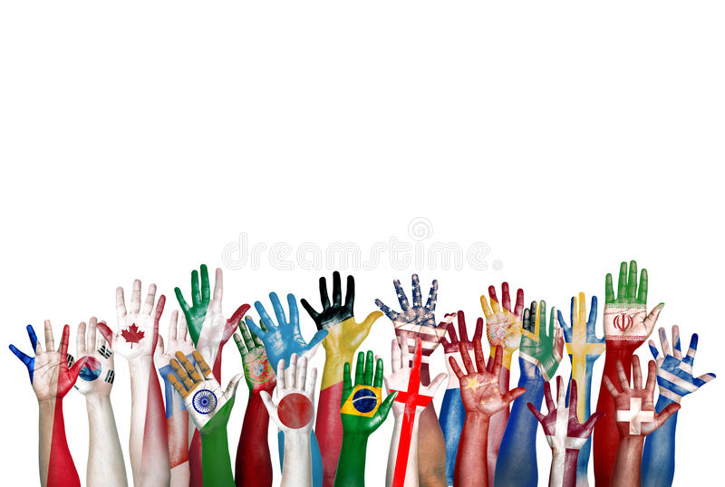 Group of Diverse Flag Painted Hands Raised royalty free stock photography