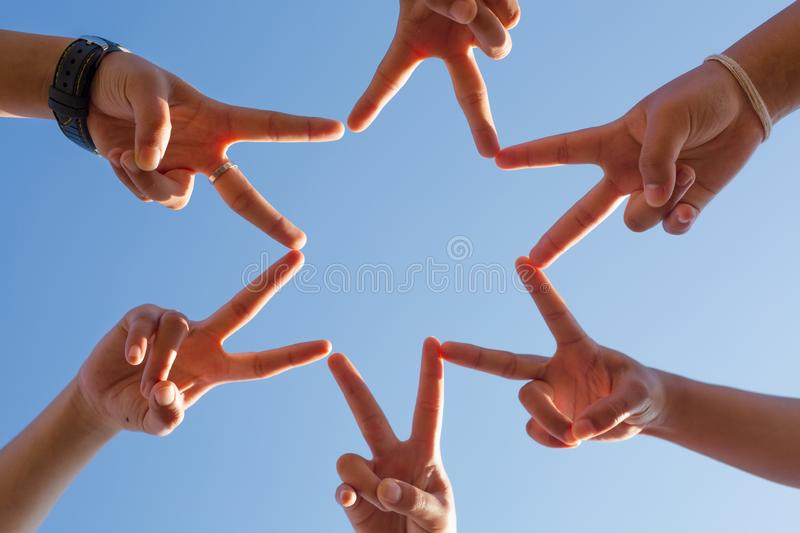 Group of Diverse Hands Together Joining,Team Work Concept royalty free stock photos