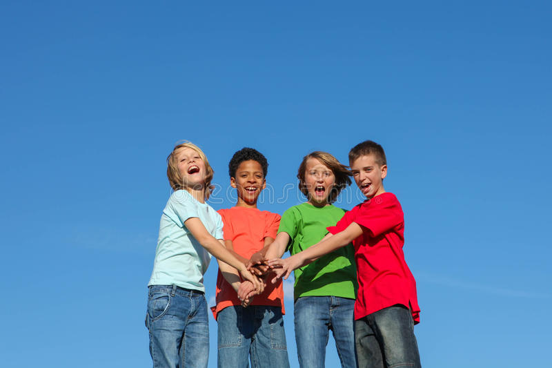 Group of diverse kids or teens royalty free stock photo