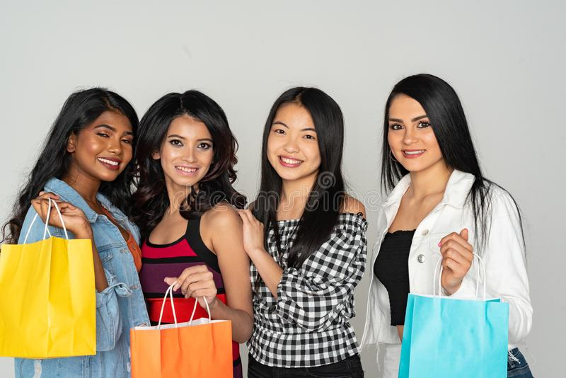 Group of Women Shopping At The Mall royalty free stock photos