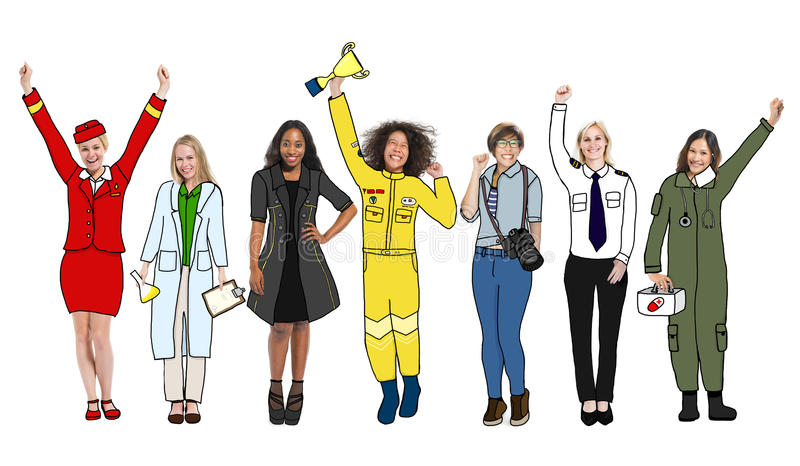 Group of Diverse Multiethnic People with Different Jobs royalty free illustration