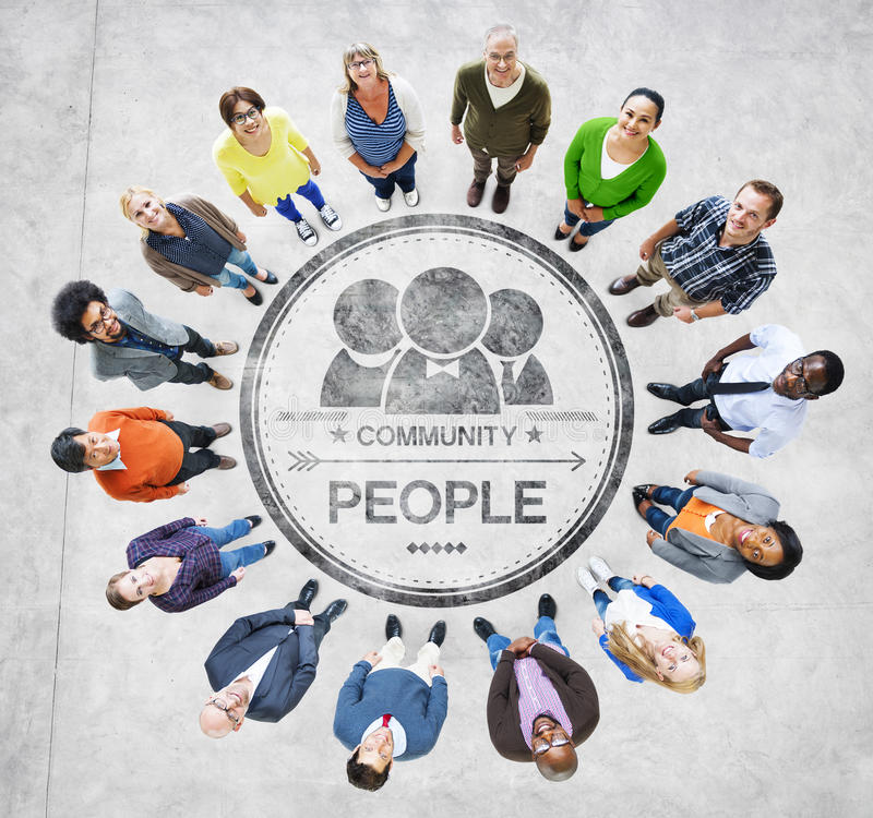 Group of Diverse Multiethnic People Forming a Circle.  royalty free stock photography