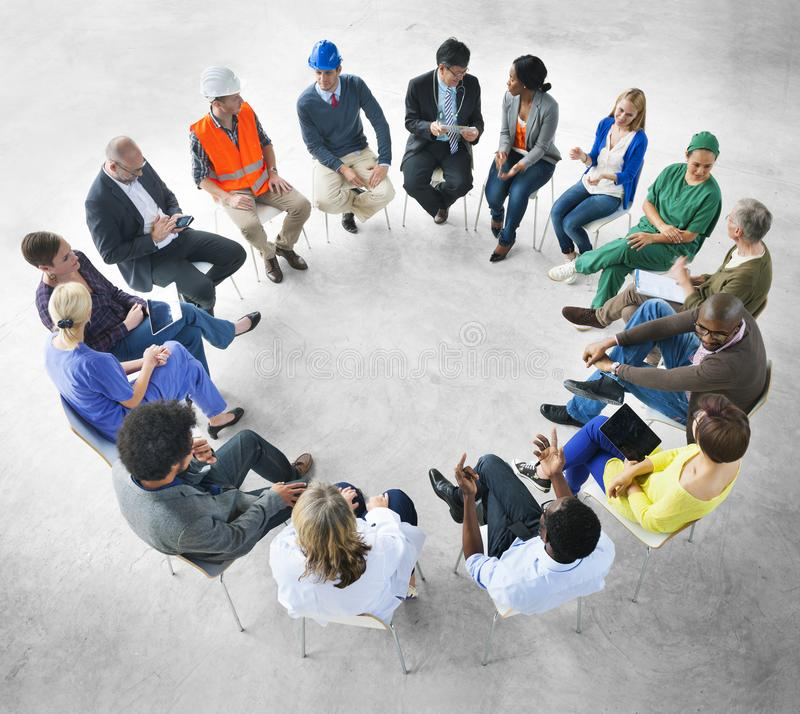 Group of diverse occupations together stock image