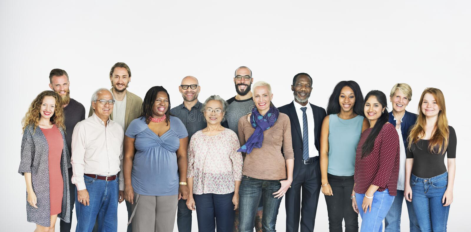 A group of diverse people isolated on white stock images