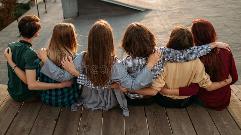 Group diverse people unity support friendship back royalty free stock photo