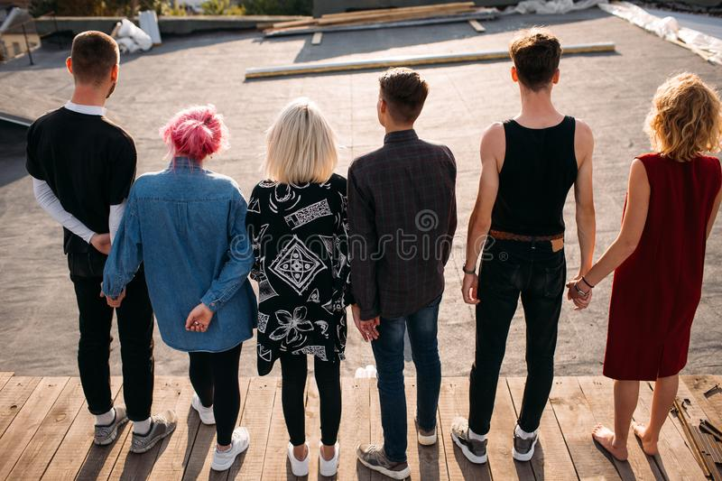 Group diverse people unity support friendship back stock photos