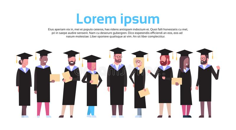 Group Of Diverse Students In Graduation Cap And Gown Hold Diploma Isolated Over White Background With Copy Space. Flat Vector Illustration vector illustration
