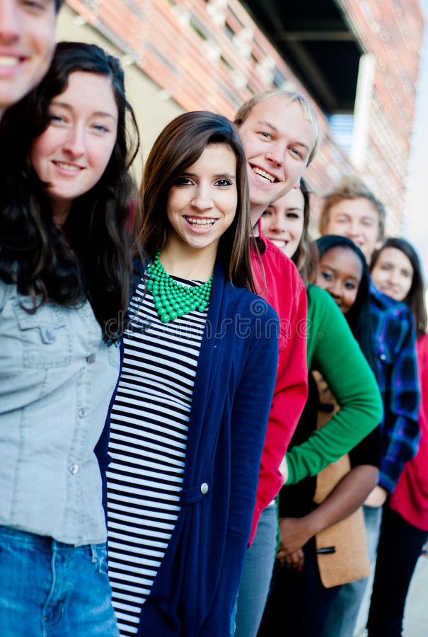 Group of Diverse Students Outside stock photography