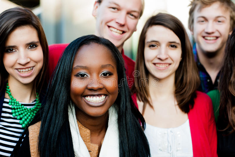 Group of Diverse Students Outside royalty free stock images
