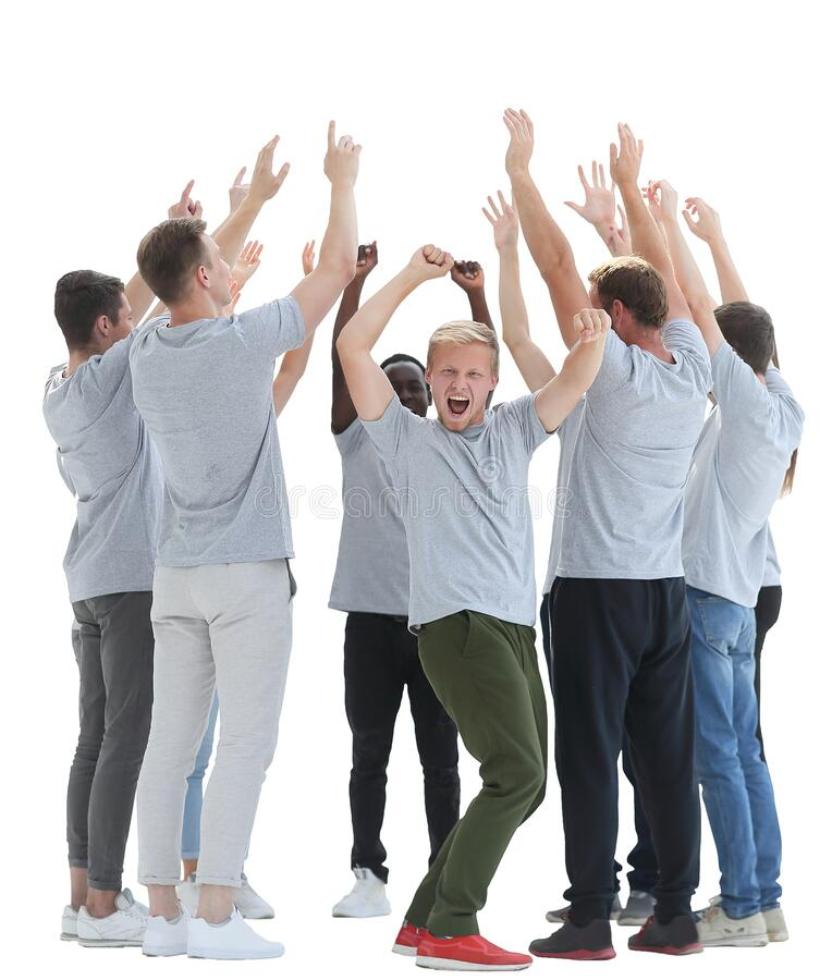 Group of diverse young people showing their unity. Photo with copy space stock photo