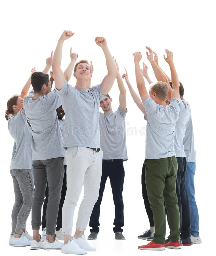 Group of diverse young people showing their unity. Photo with copy space stock photography