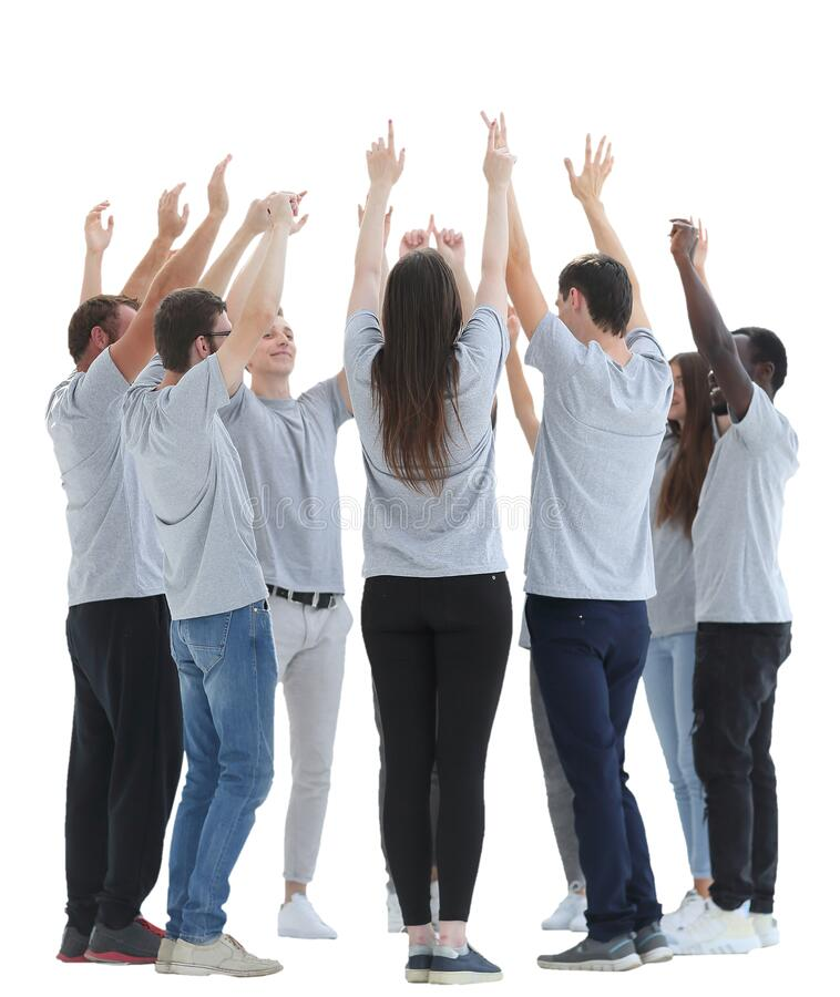 Group of diverse young people standing together. Photo with copy space stock images