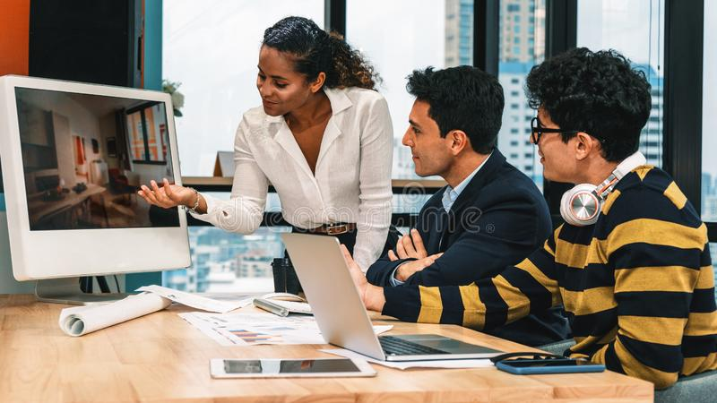 Group of diversity business executive having business discussion on corporate business project in company workplace stock photo