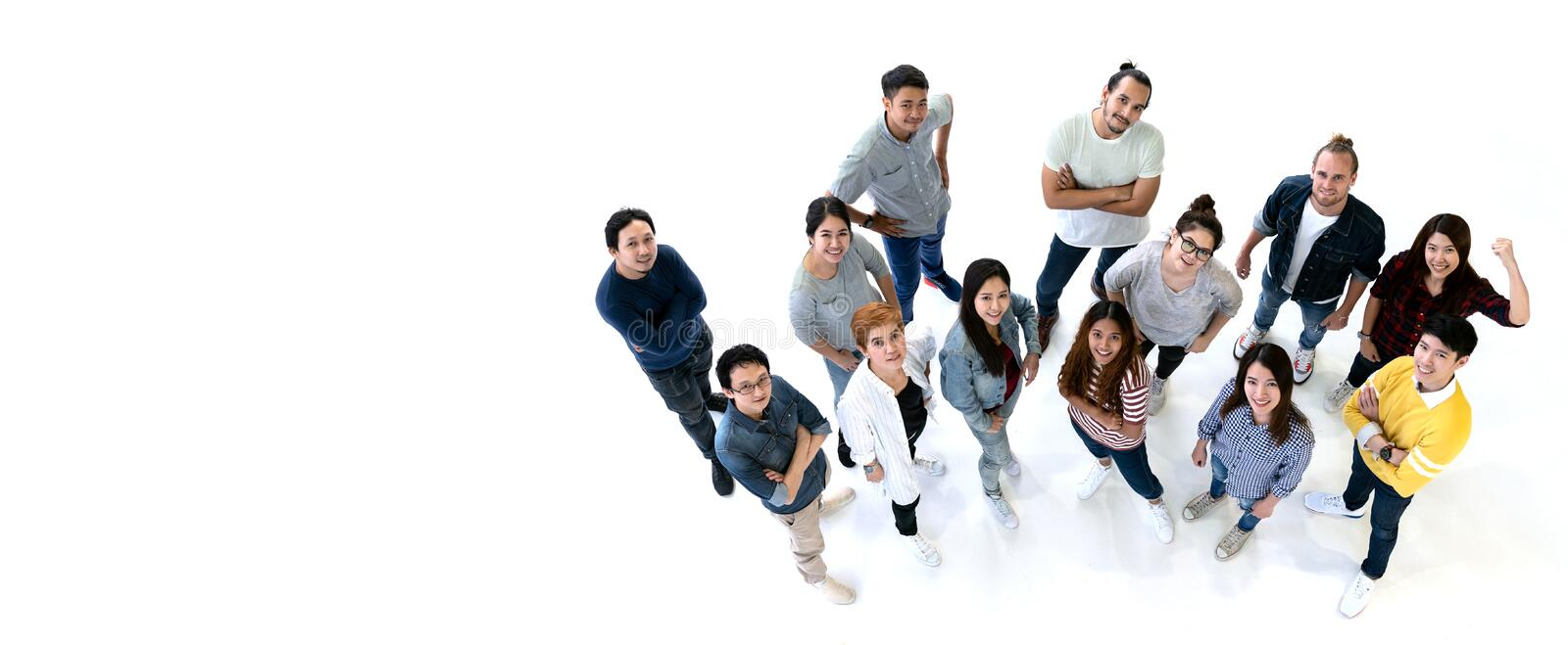 Group of Diversity People Team smiling with top view. Ethnicity group of creative teamwork in casual happy lifestyle together with royalty free stock photo