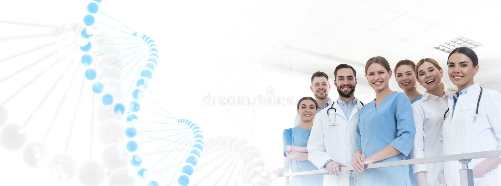 Group of doctors in clinic and DNA formula. Medical service royalty free stock photos