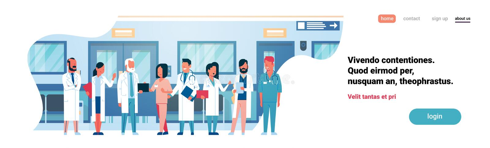 Group doctors hospital corridor diverse medical workers modern clinic banner copy space flat full length royalty free illustration