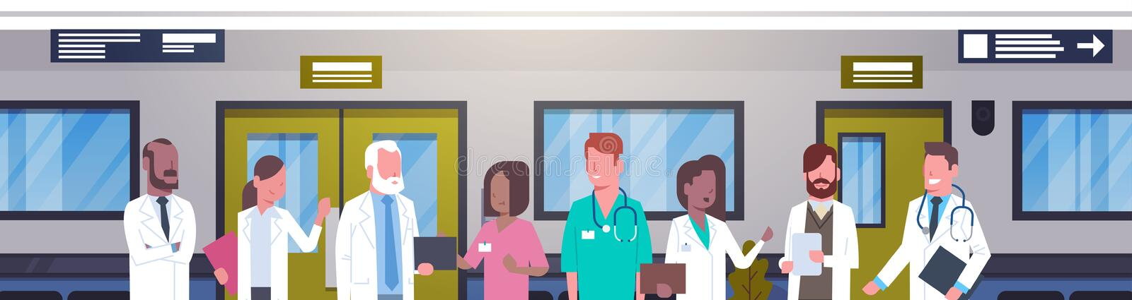 Group Of Doctors In Hospital Corridor Horizontal Banner Diverse Medical Workes In Modern Clinic stock illustration