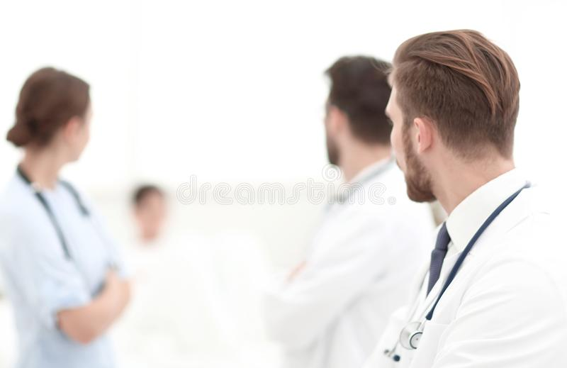 Group of doctors in a medical office. stock image