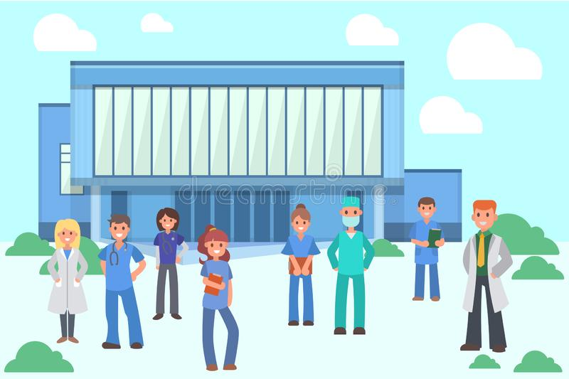 Group of doctors and nurses near hospital banner vector illustration. Diverse medical workers in front of modern clinic vector illustration
